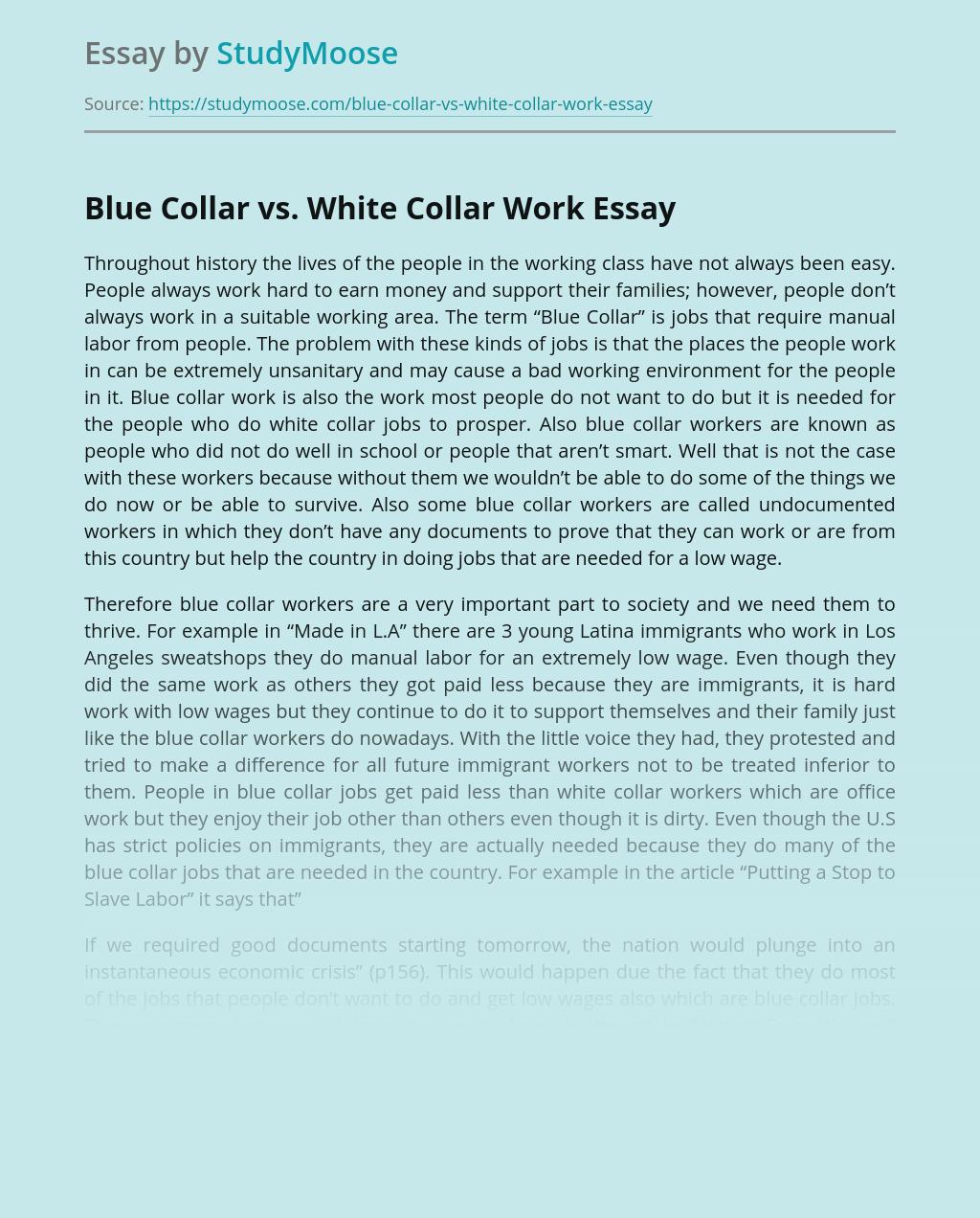 Blue Collar vs. White Collar Work