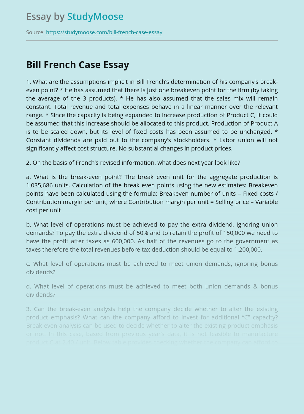 Bill French Business Case Analysis