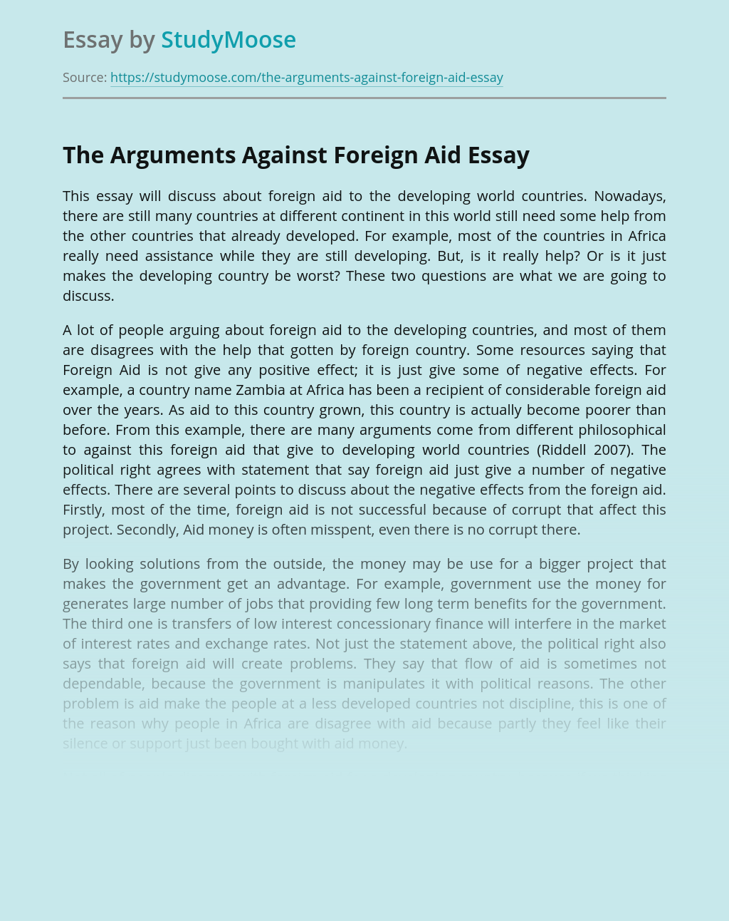 The Arguments Against Foreign Aid