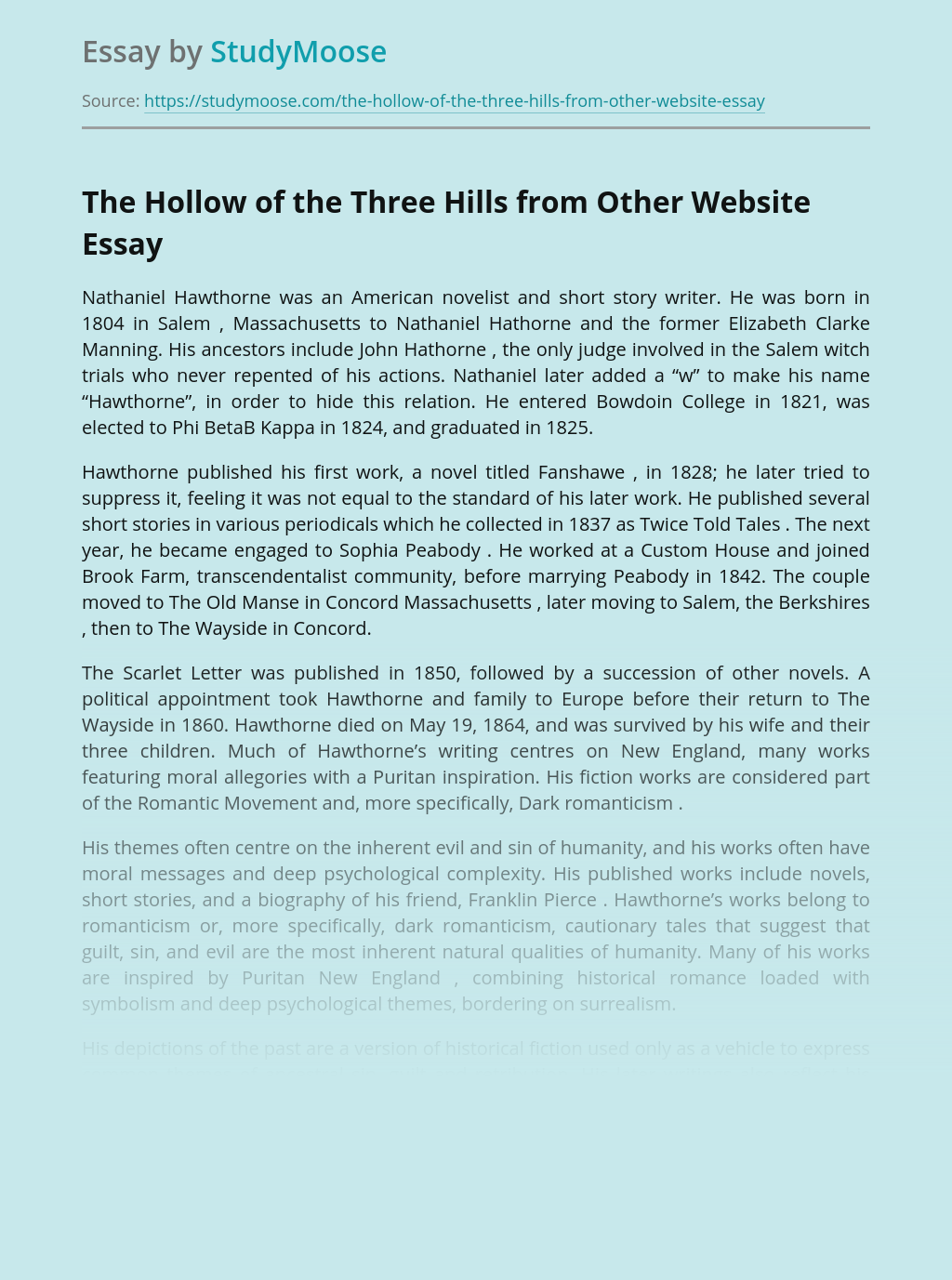 The Hollow of the Three Hills from Other Website