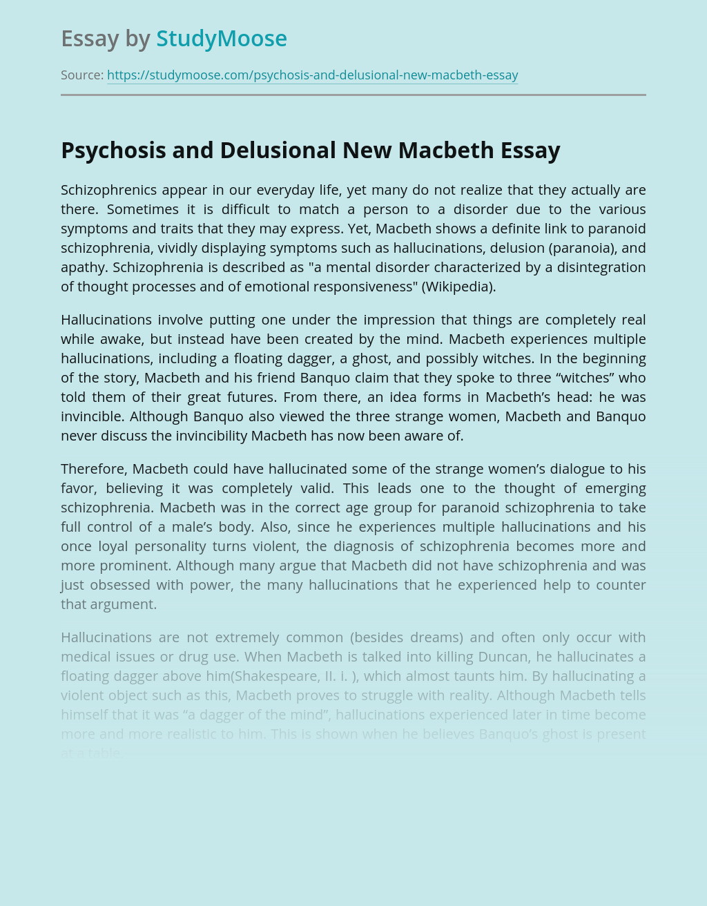 Psychosis and Delusional New Macbeth