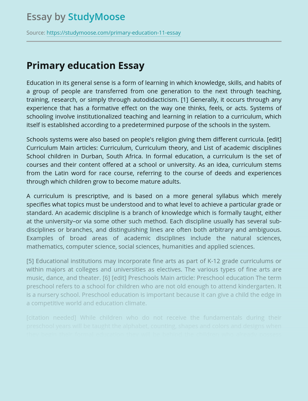 Primary education role in education system