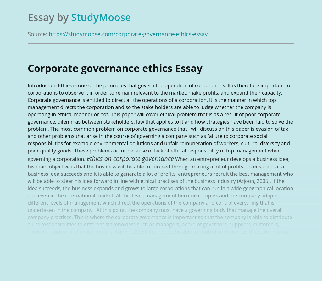 Corporate governance ethics