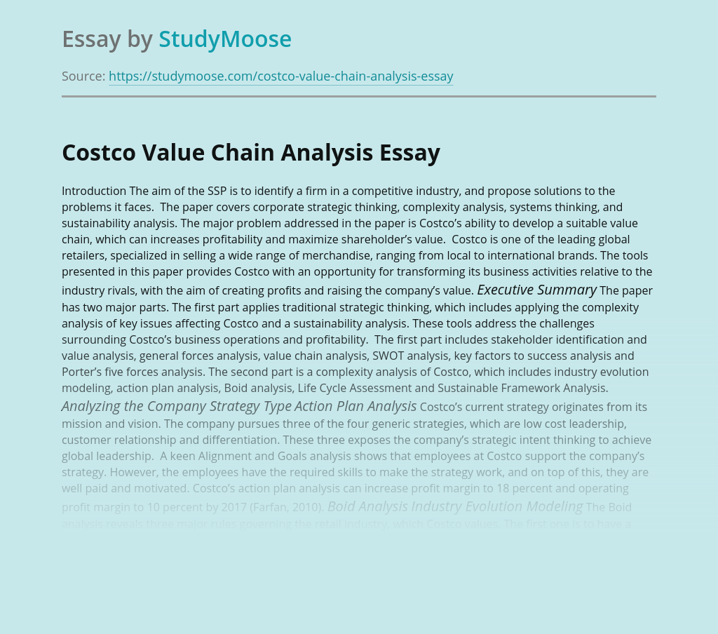 Costco Value Chain Analysis