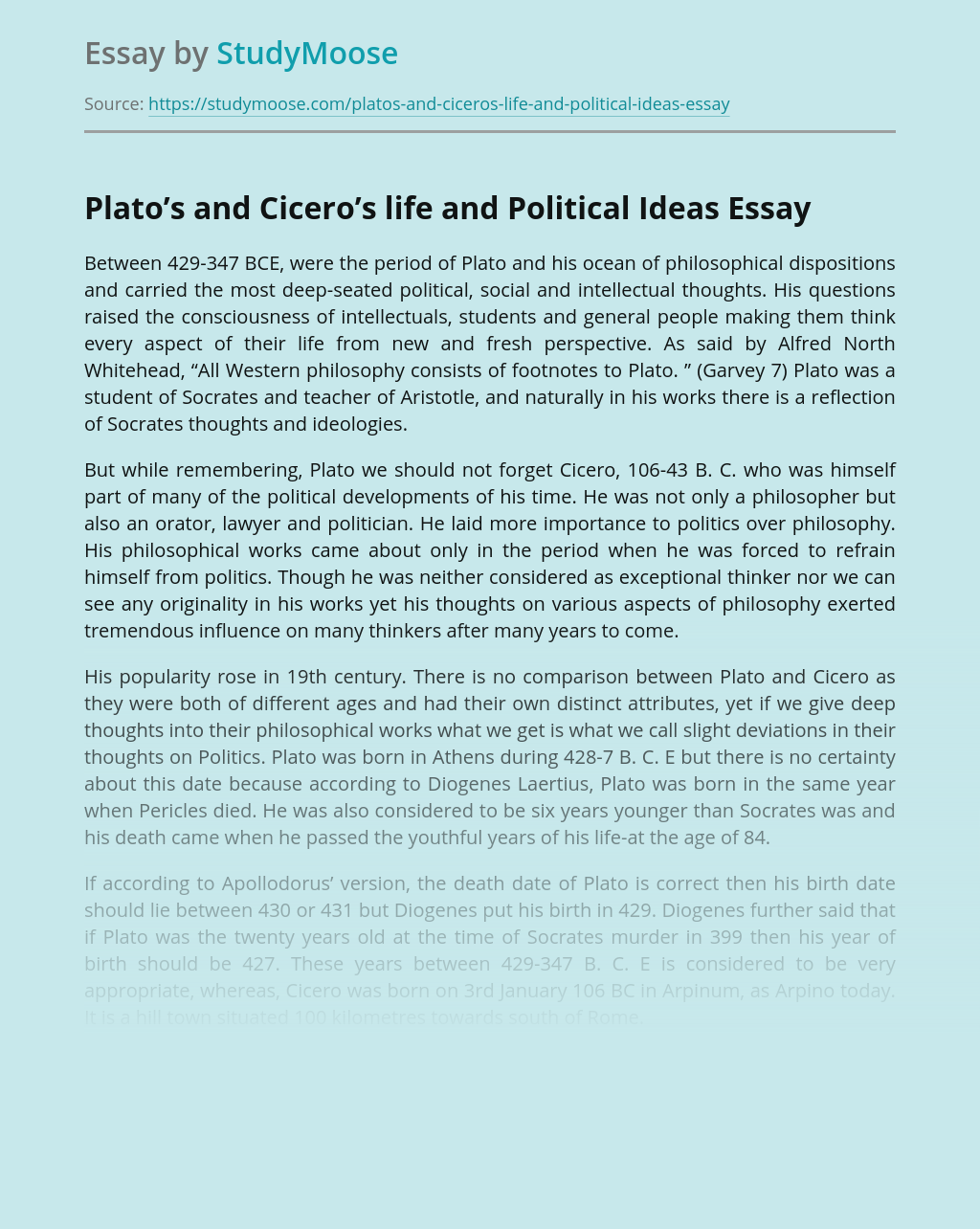 Plato's and Cicero's life and Political Ideas