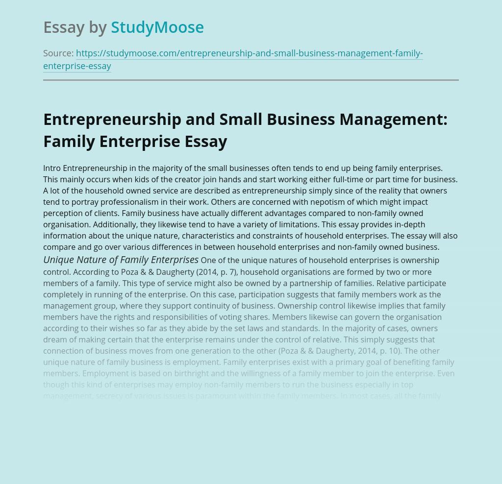 Entrepreneurship and Small Business Management: Family Enterprise