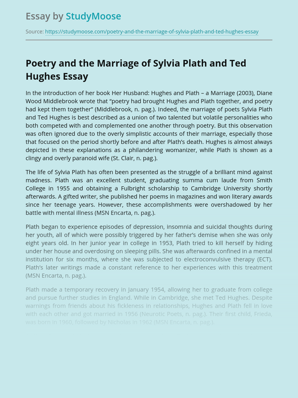 Poetry and the Marriage of Sylvia Plath and Ted Hughes