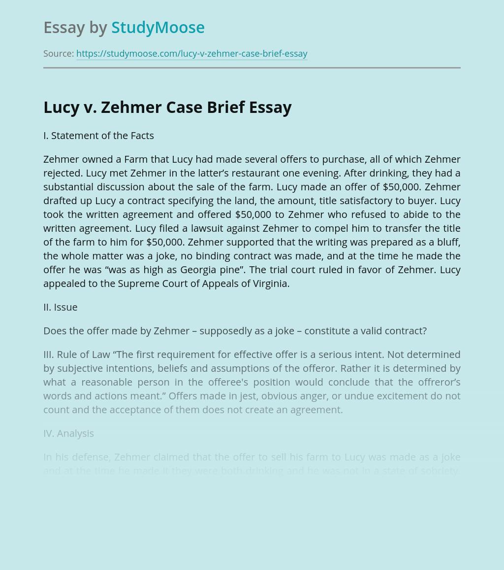 Lucy v. Zehmer Case Brief