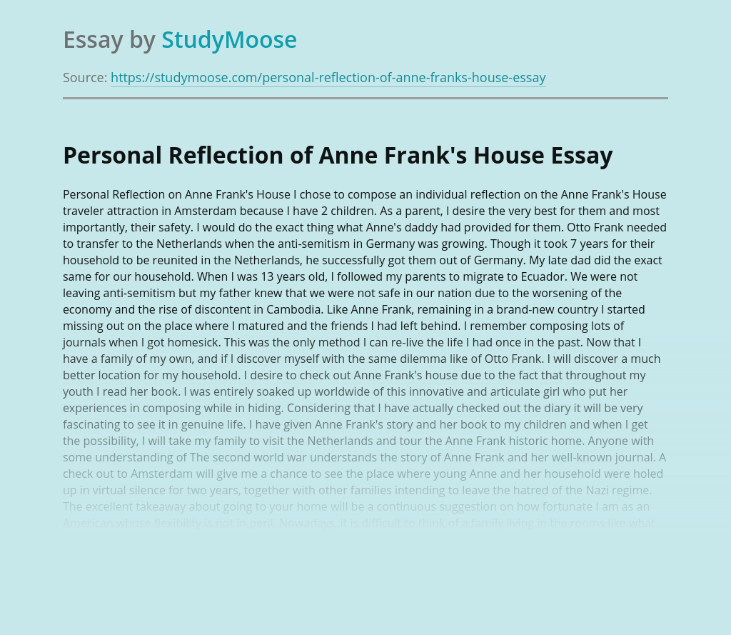 Personal Reflection of Anne Frank's House