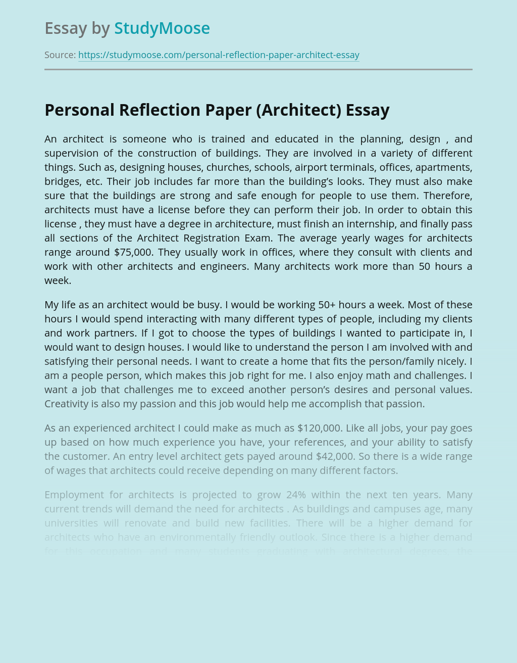 Personal Reflection Paper (Architect)