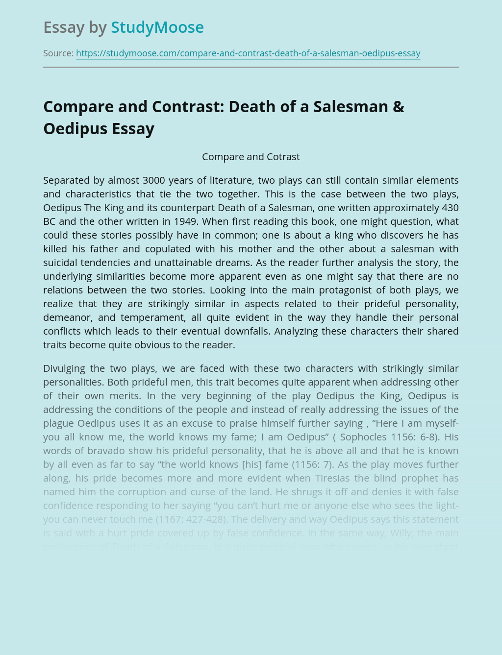 Compare and Contrast: Death of a Salesman & Oedipus
