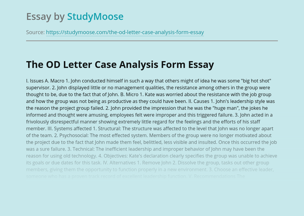 The OD Letter Case Analysis Form