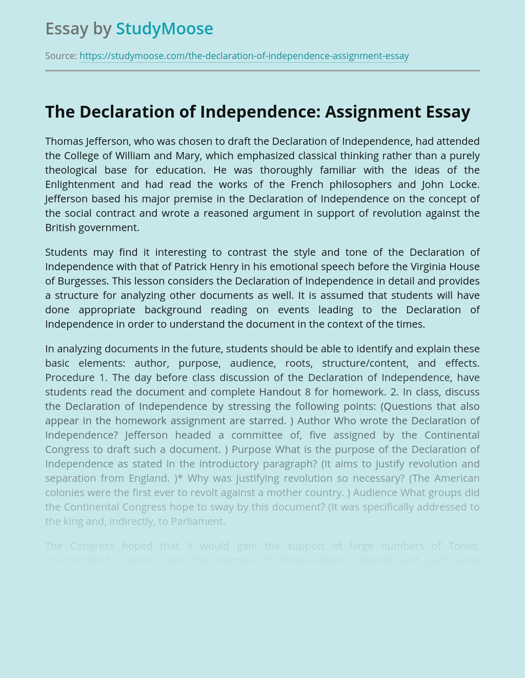 The Declaration of Independence: Assignment