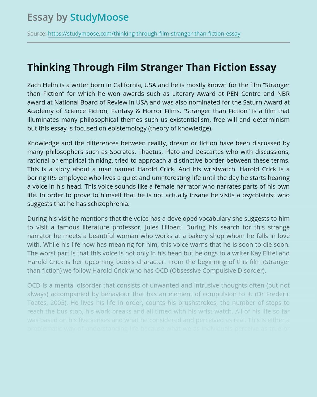 Thinking Through Film Stranger Than Fiction
