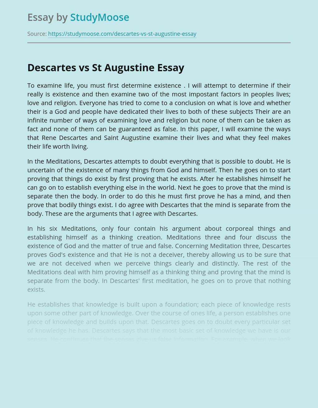Comparison of Descartes' and St Augustine's Philosophies