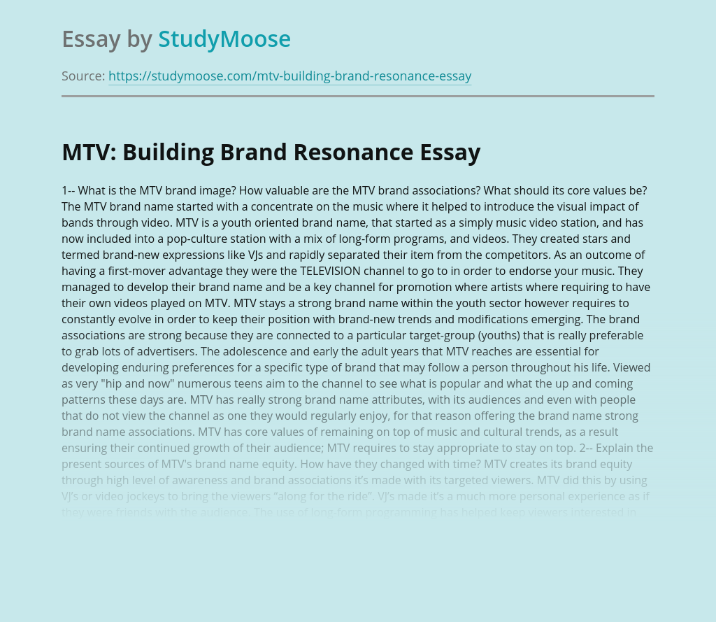 MTV: Building Brand Resonance