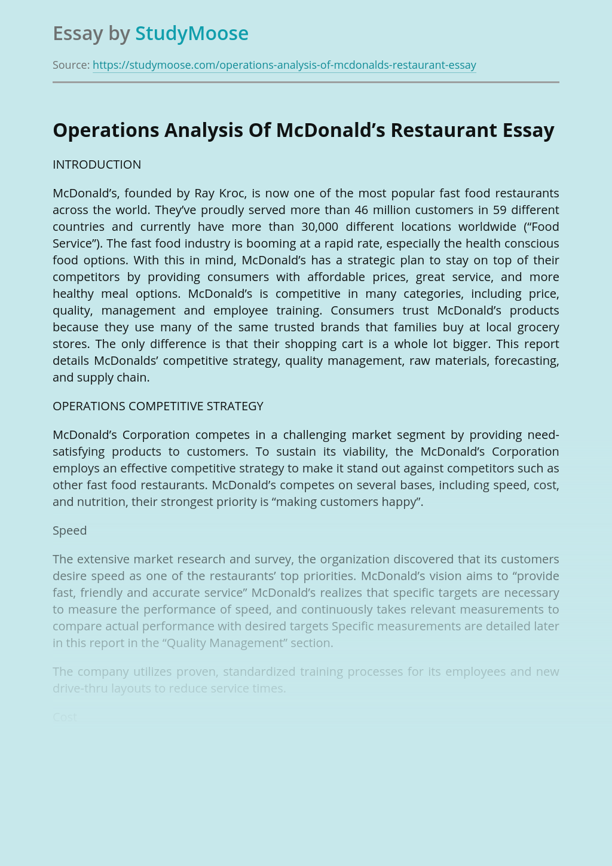 Operations Analysis Of McDonald's Restaurant