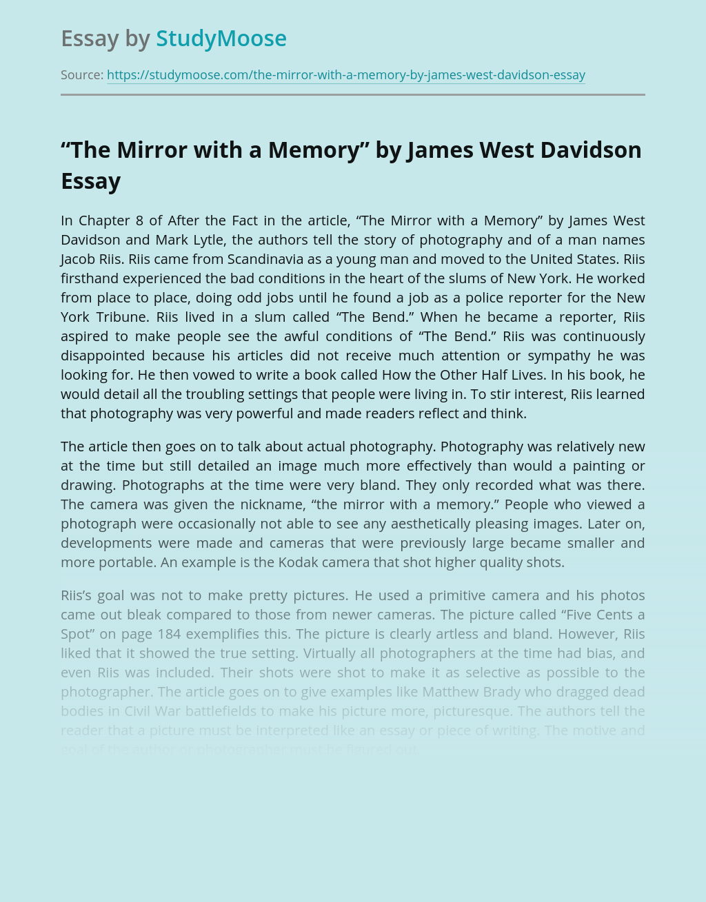 """The Mirror with a Memory"" by James West Davidson"