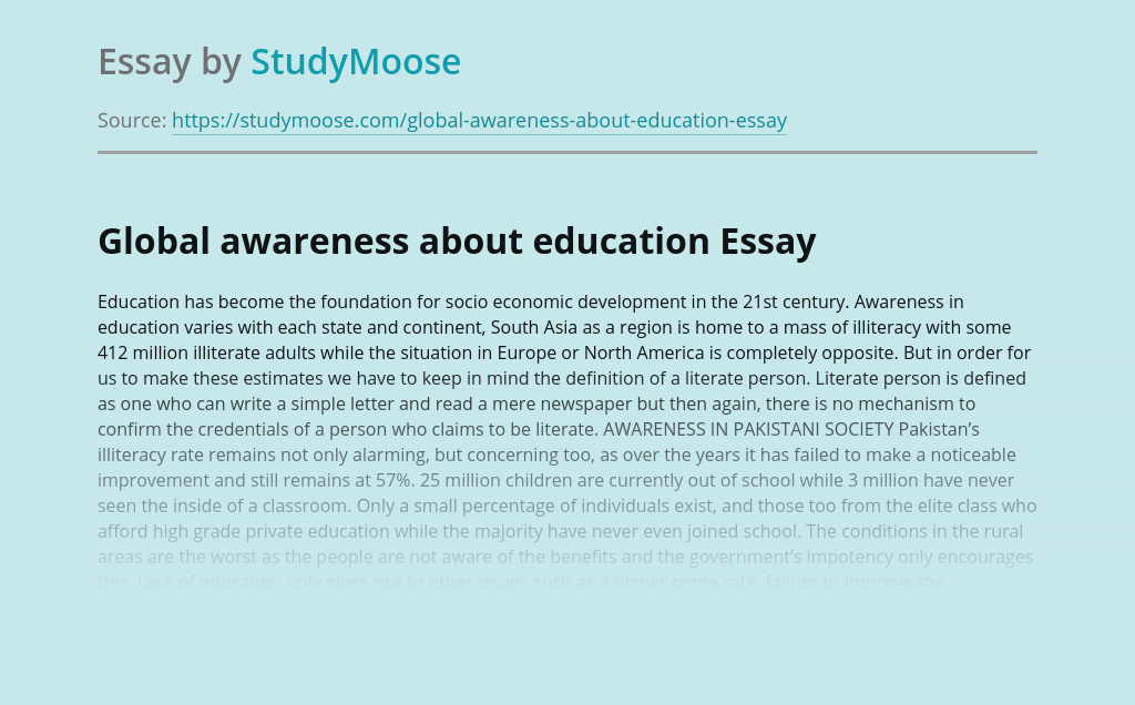 Global awareness about education