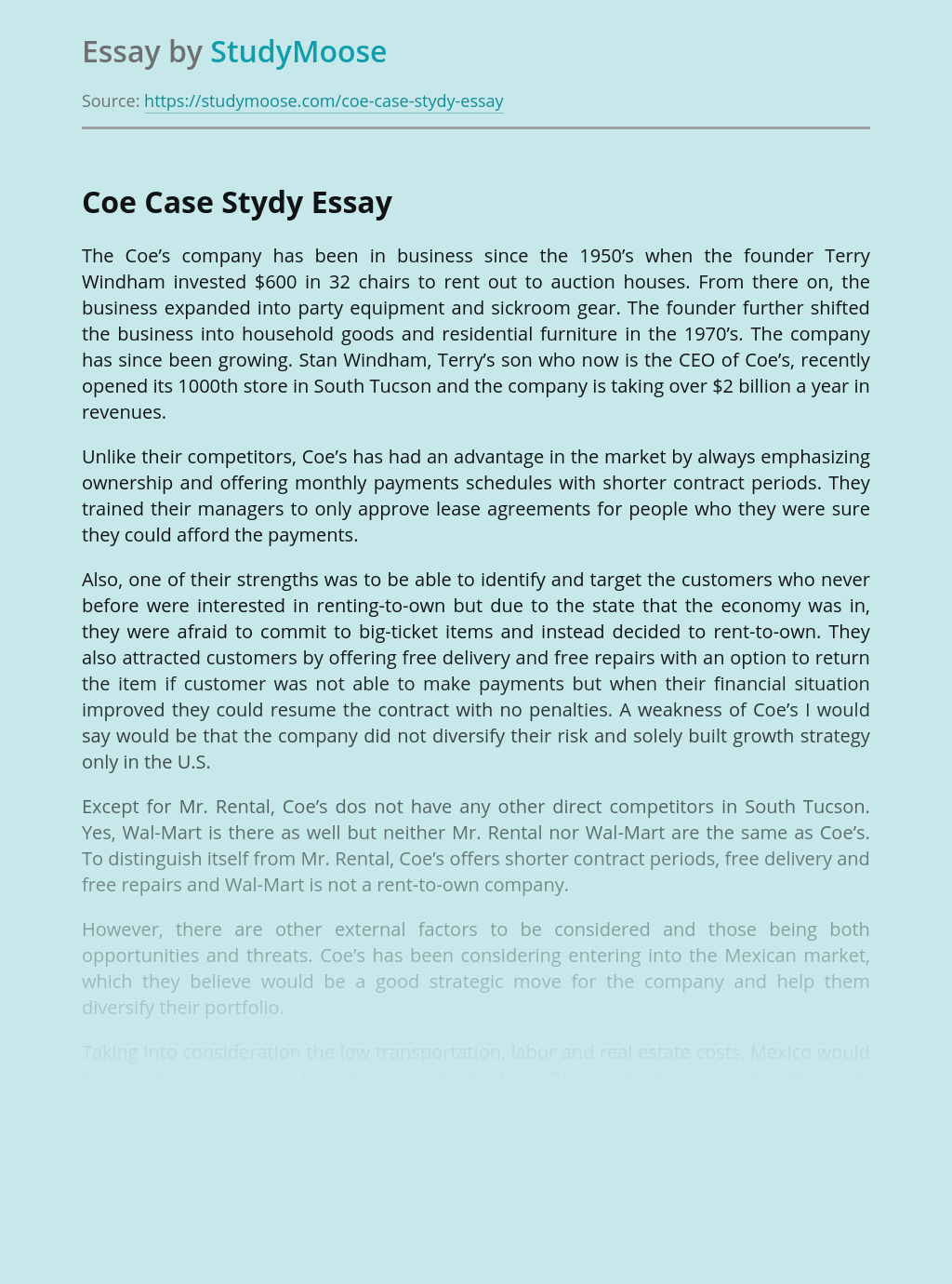 Coe Case Company Issues