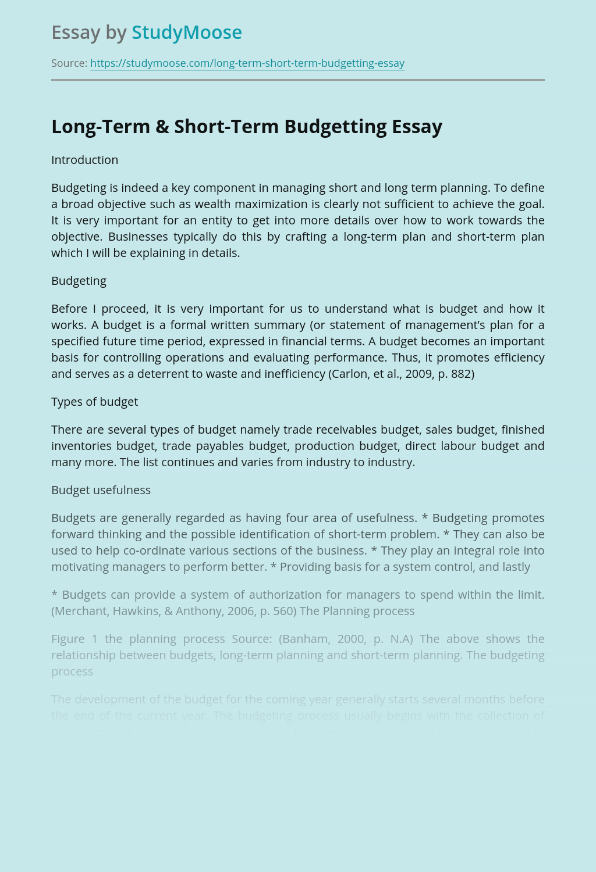 Long-Term & Short-Term Budgetting
