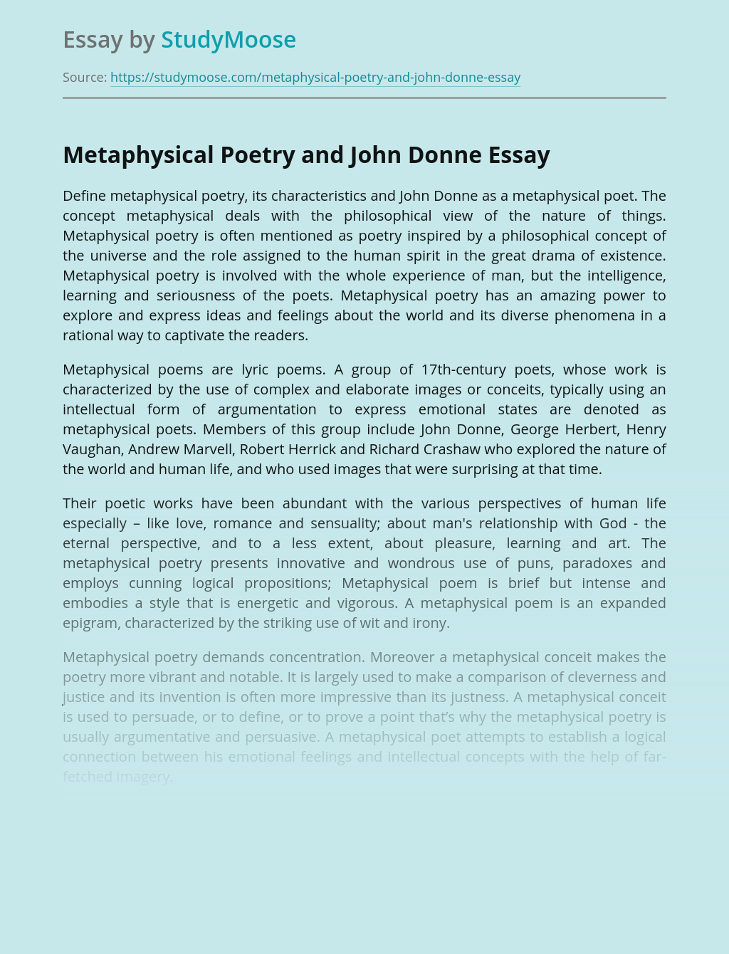 Metaphysical Poetry and John Donne
