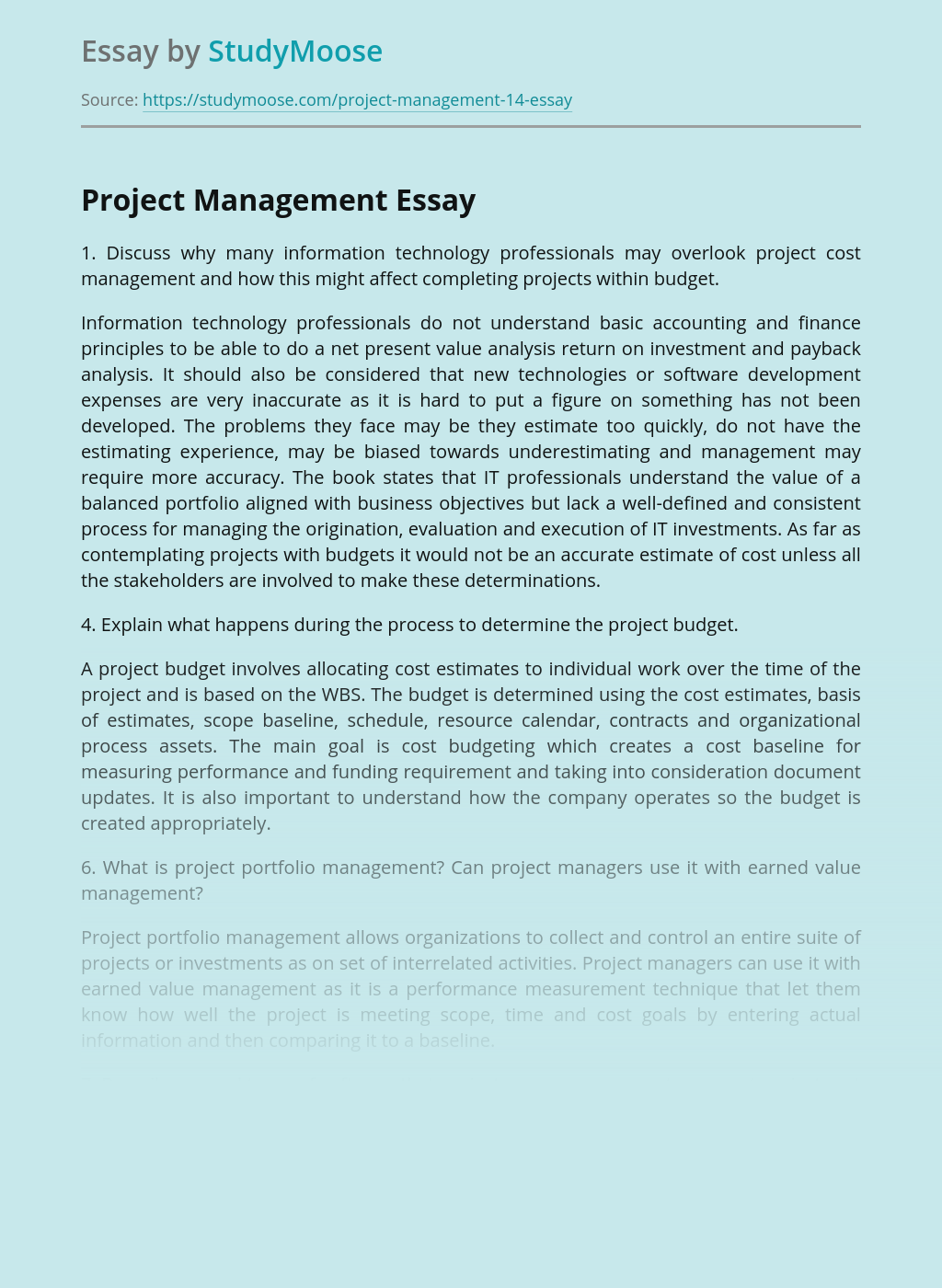 Project Management for Completing Projects within Budget