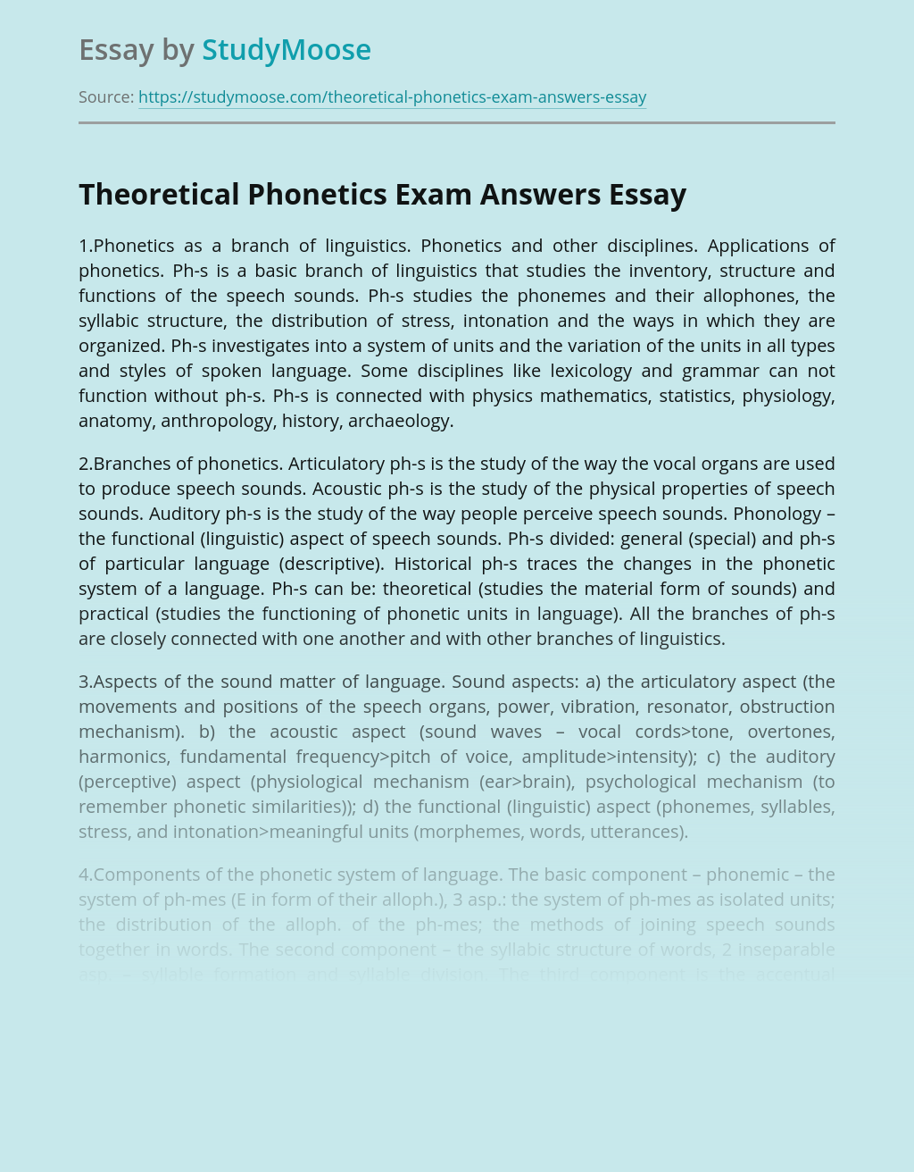 Theoretical Phonetics Exam Answers