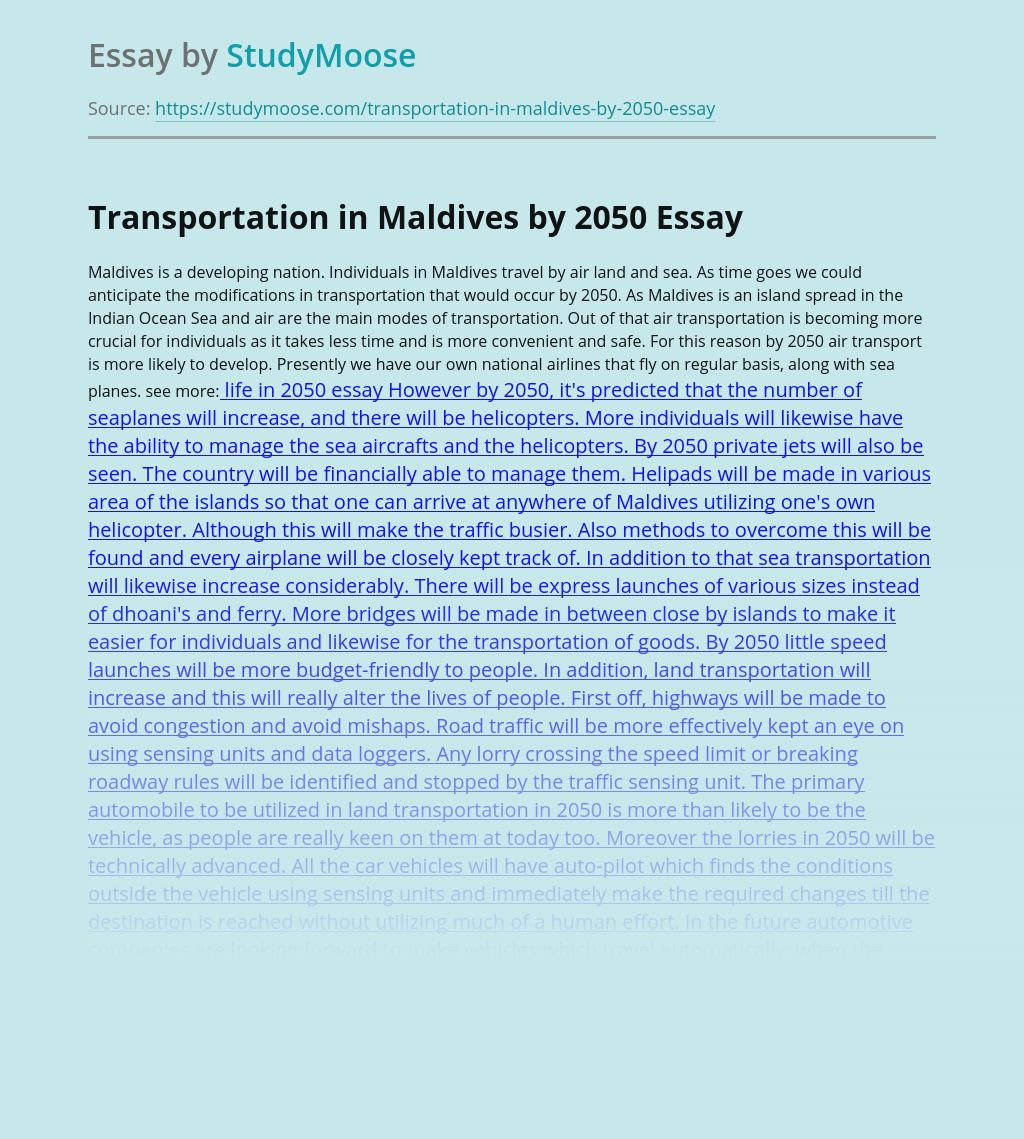 Transportation in Maldives by 2050