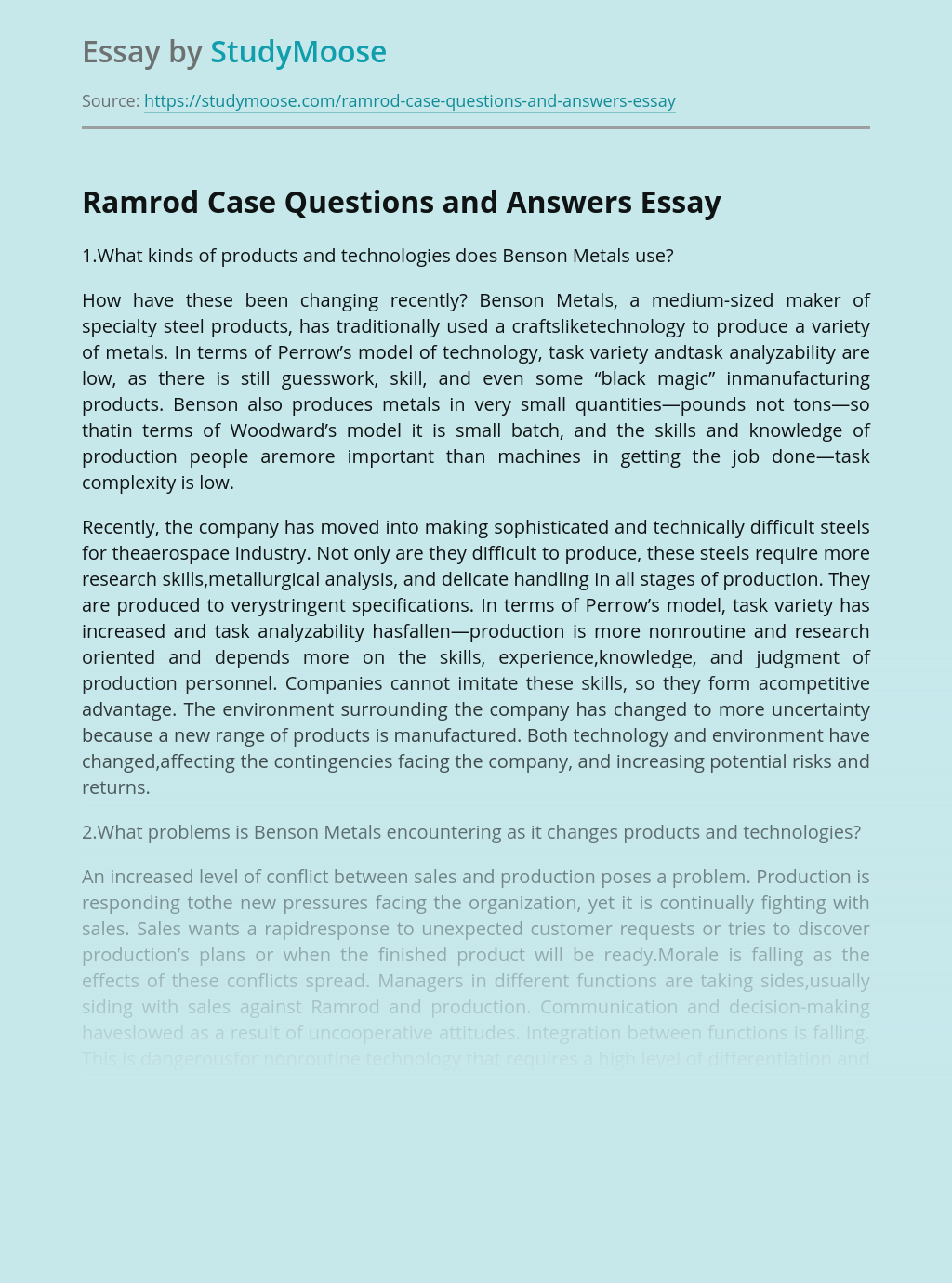 Ramrod Case Questions and Answers