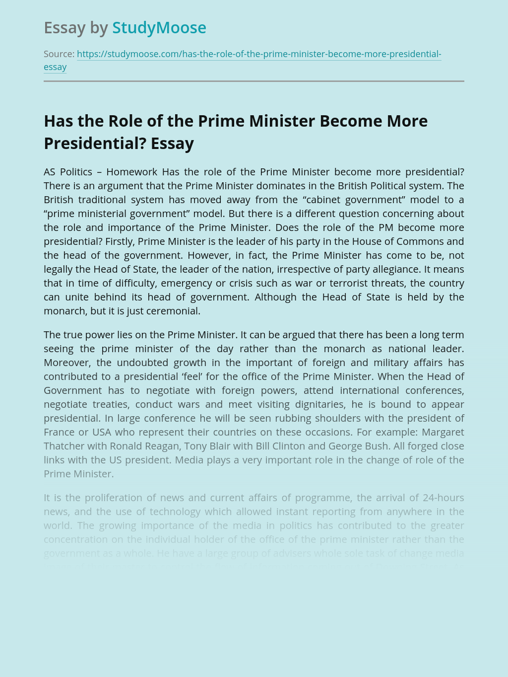 Has the Role of the Prime Minister Become More Presidential?