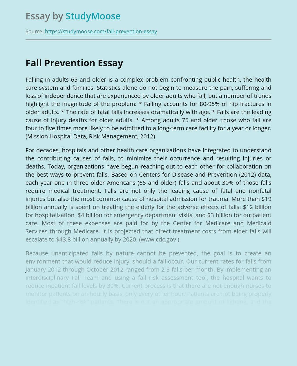 Fall Prevention in adults