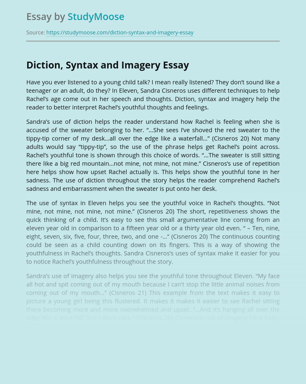 Diction, Syntax and Imagery