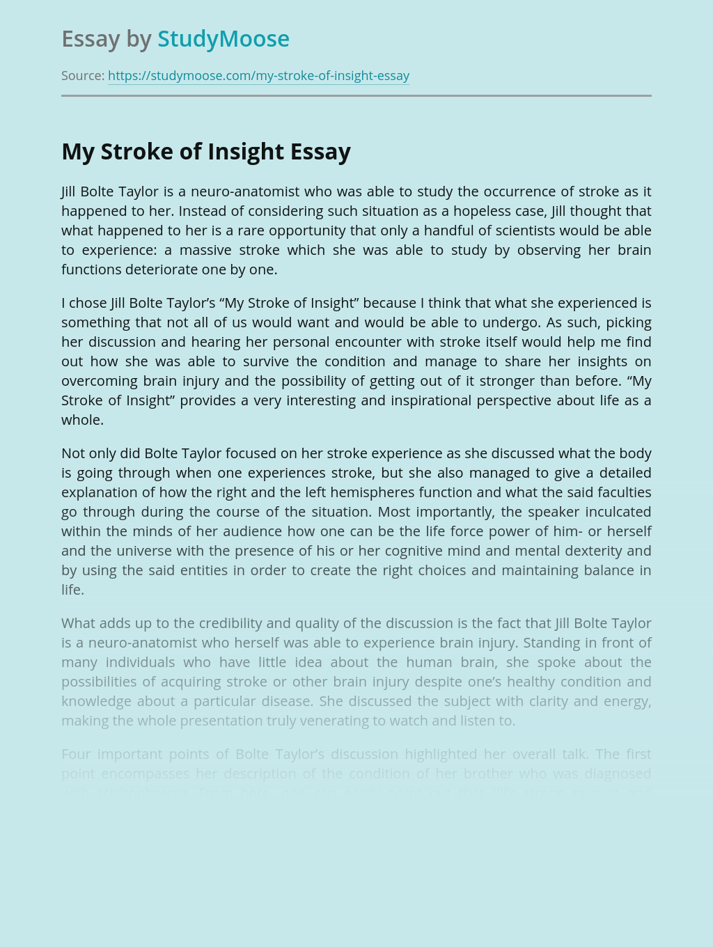 """About Jill Bolte Taylor's """"My Stroke of Insight"""""""