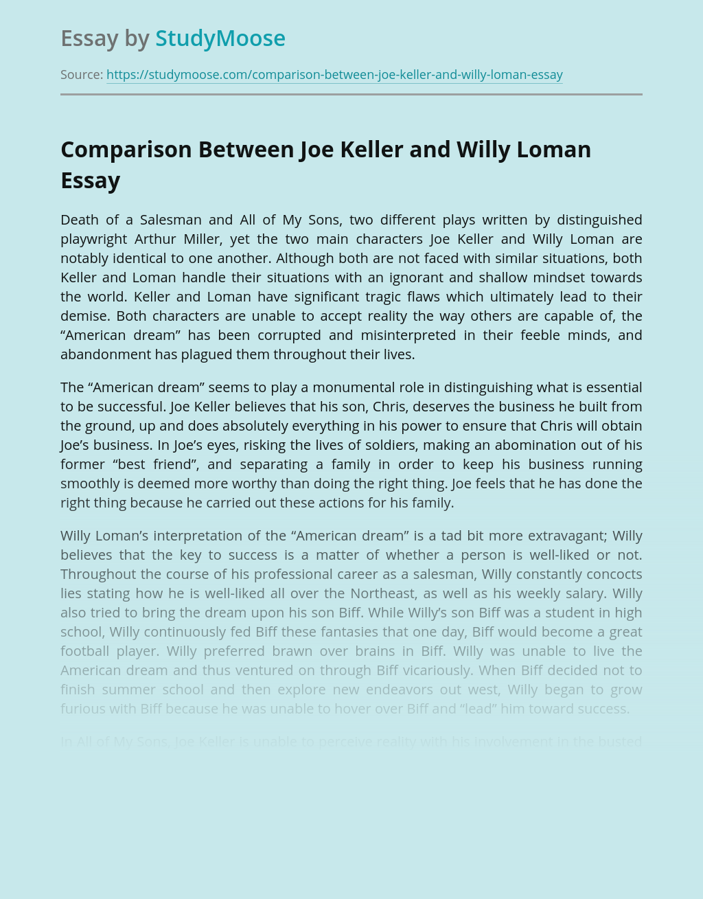 Comparison of Joe Keller's and Willy Loman's Plays