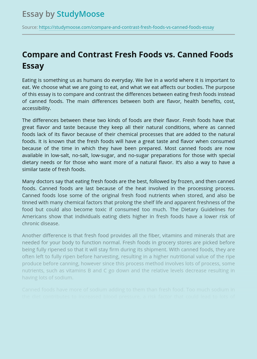 Compare and Contrast Fresh Foods vs. Canned Foods