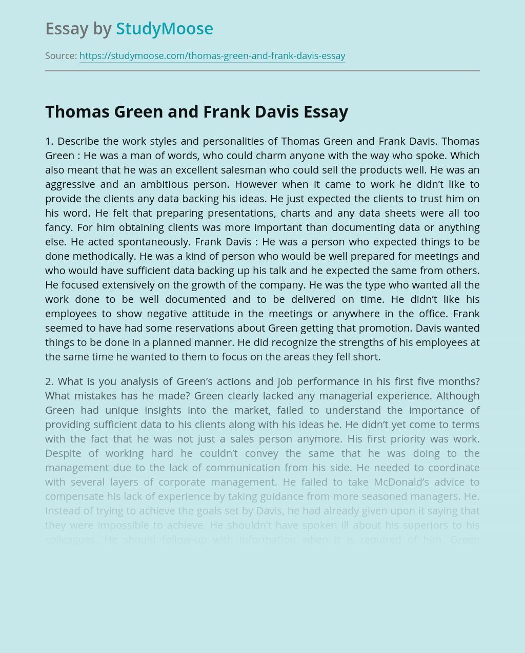 Thomas Green and Frank Davis