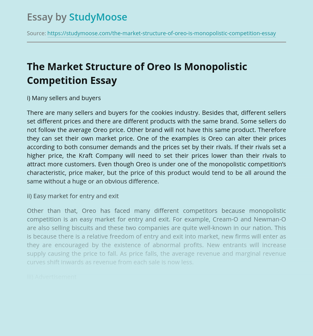 The Market Structure of Oreo Is Monopolistic Competition