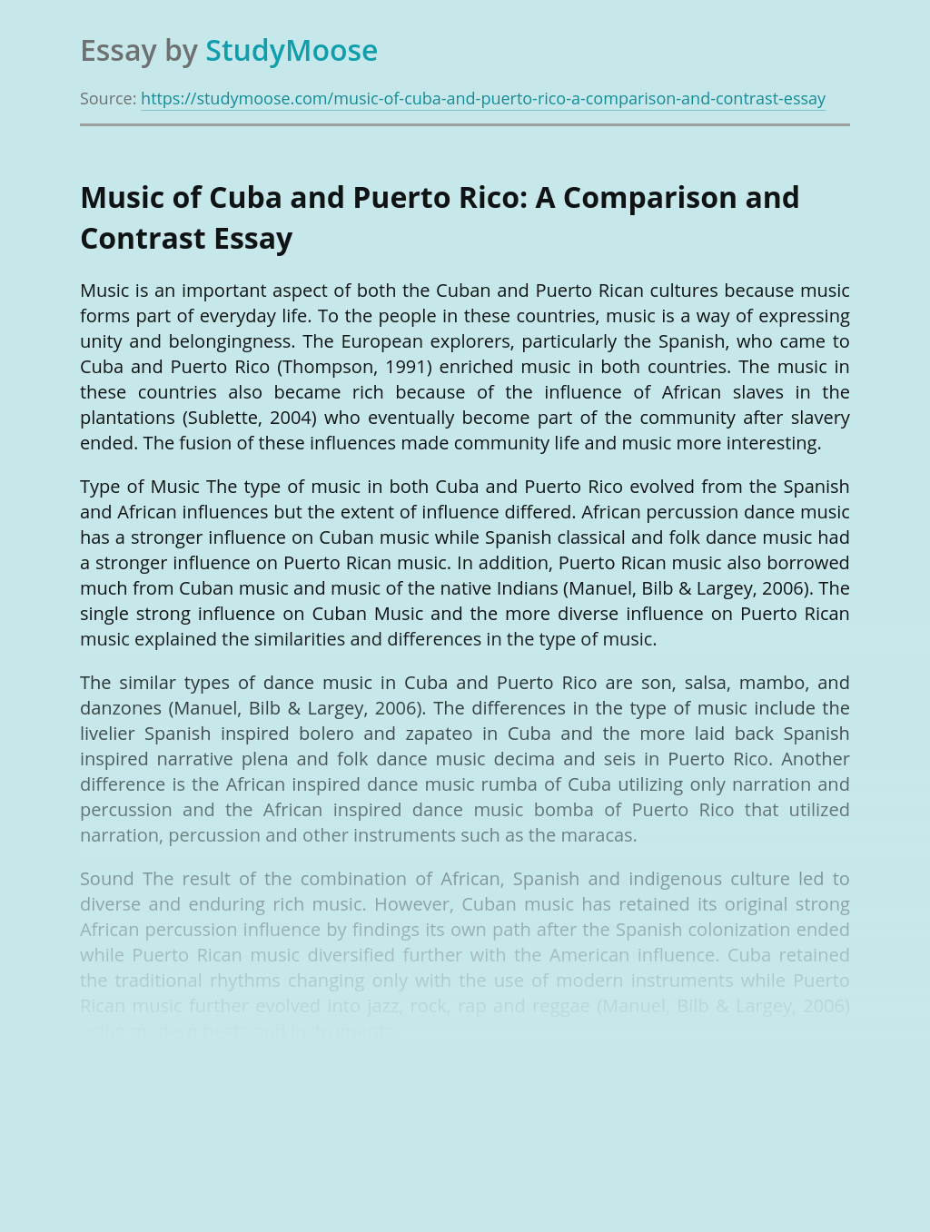 Music of Cuba and Puerto Rico: A Comparison and Contrast