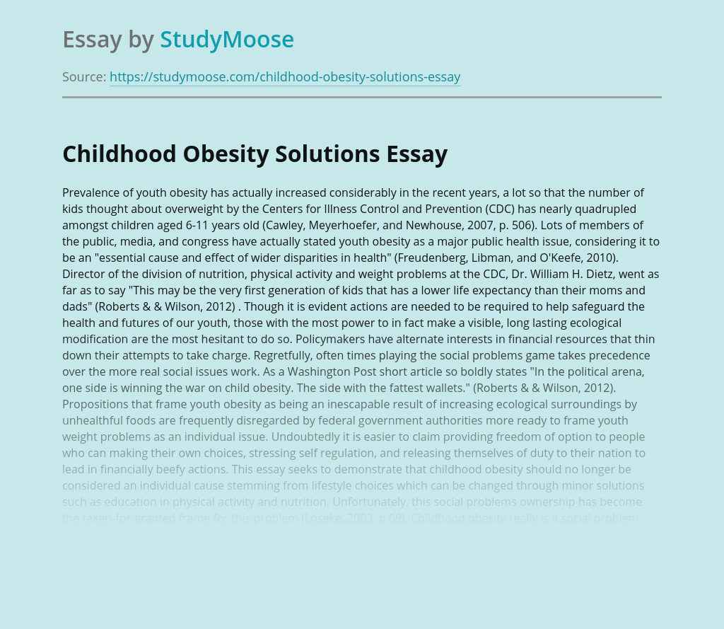 Childhood Obesity Solutions