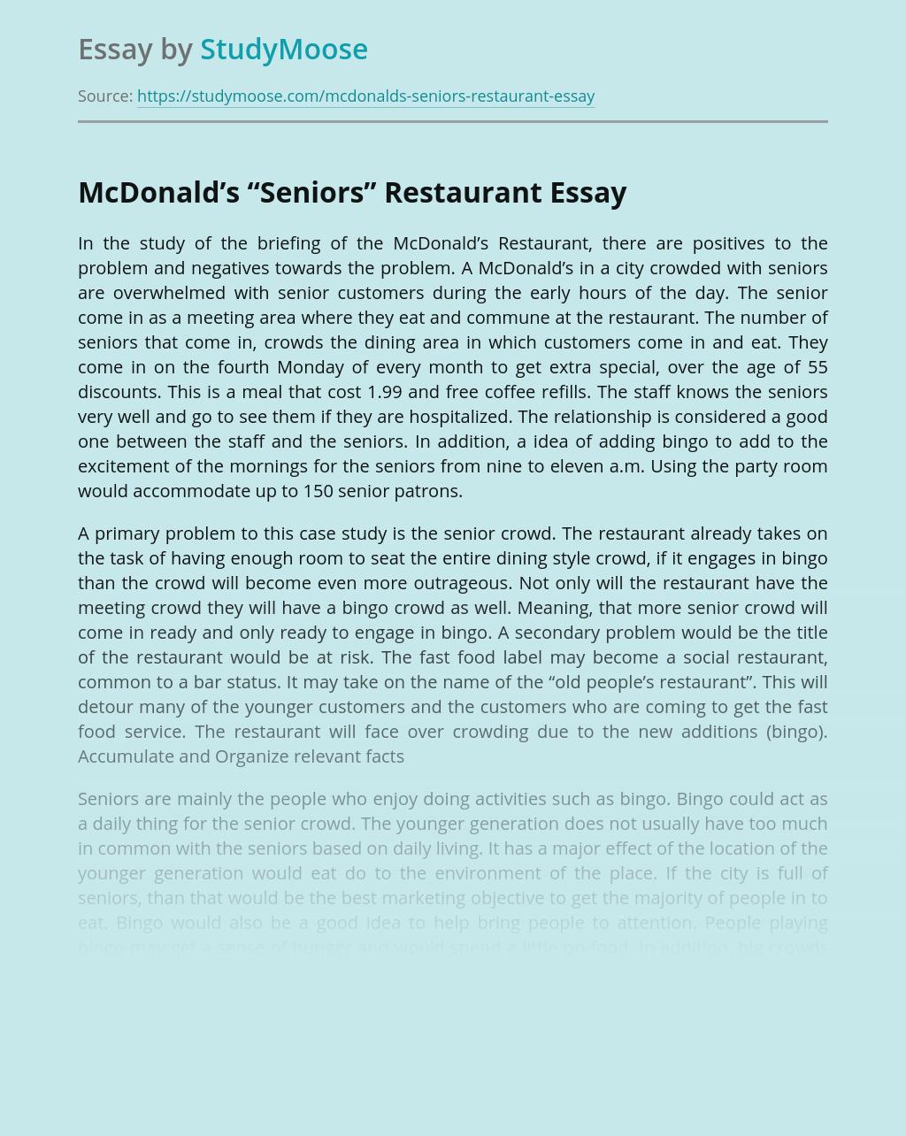 "McDonald's ""Seniors"" Restaurant"