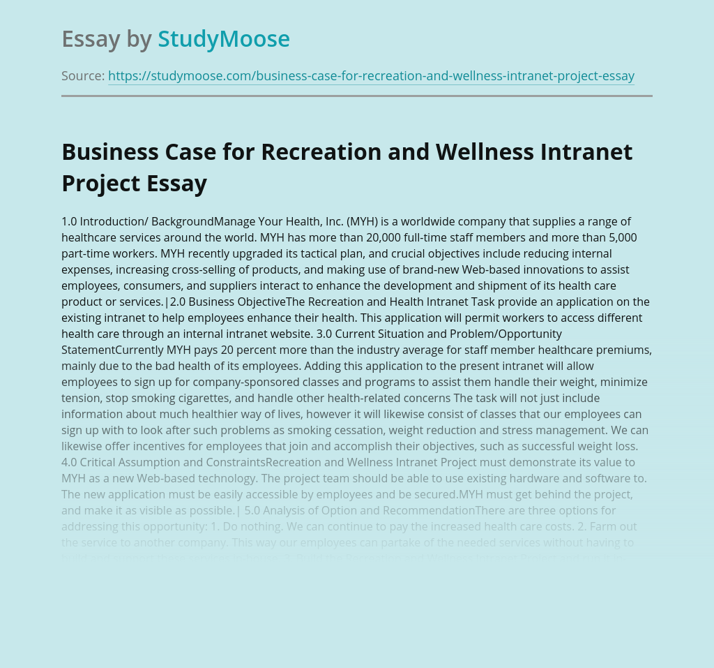 Business Case for Recreation and Wellness Intranet Project