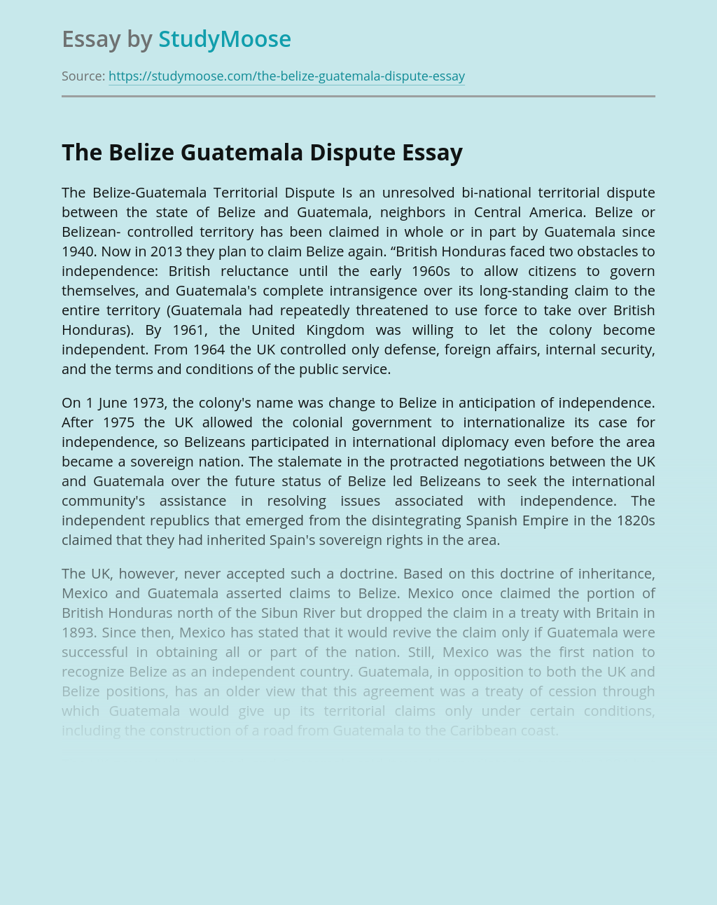 The Belize Guatemala Dispute