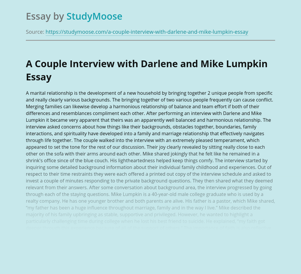 A Couple Interview with Darlene and Mike Lumpkin