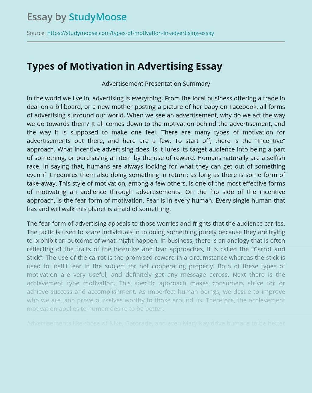 Types of Motivation in Advertising