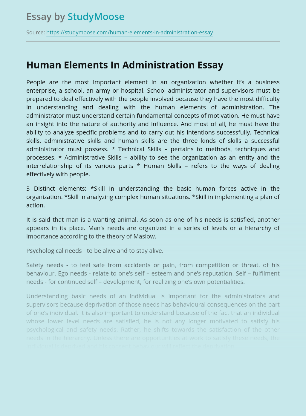 Human Elements In Administration