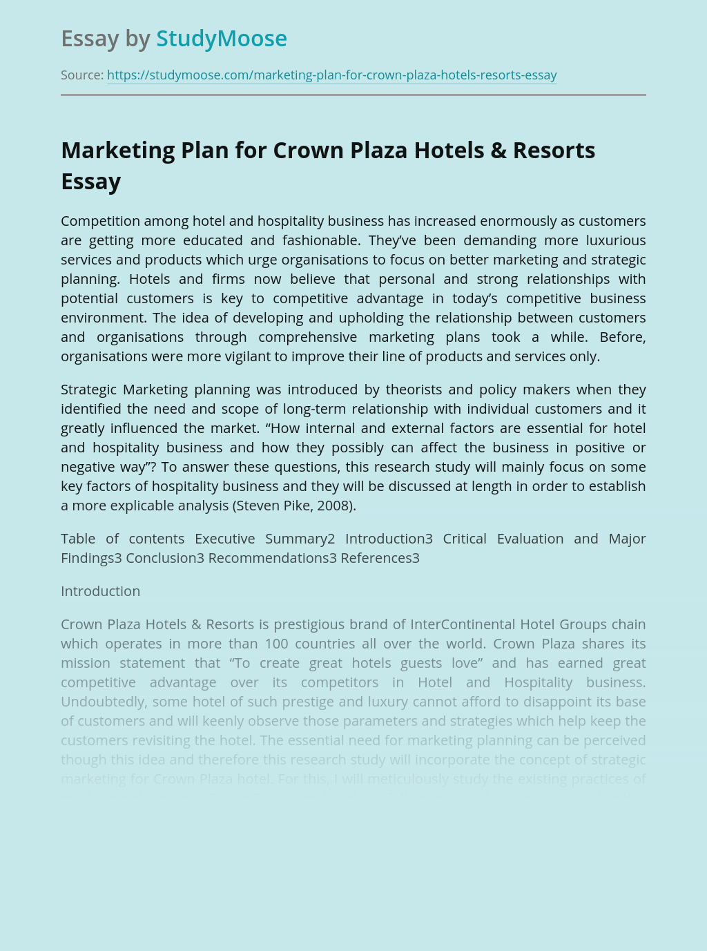 Marketing Plan for Crown Plaza Hotels & Resorts