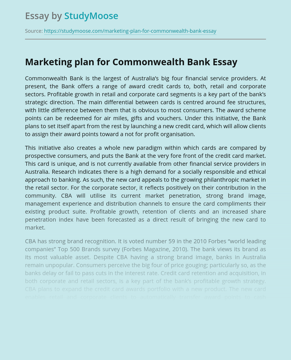 Marketing plan for Commonwealth Bank