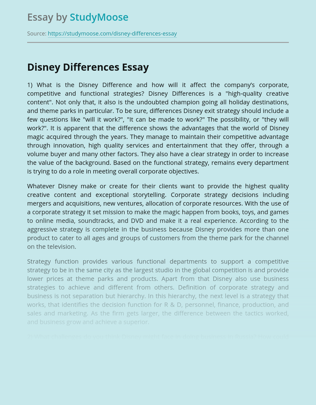 Disney Differences