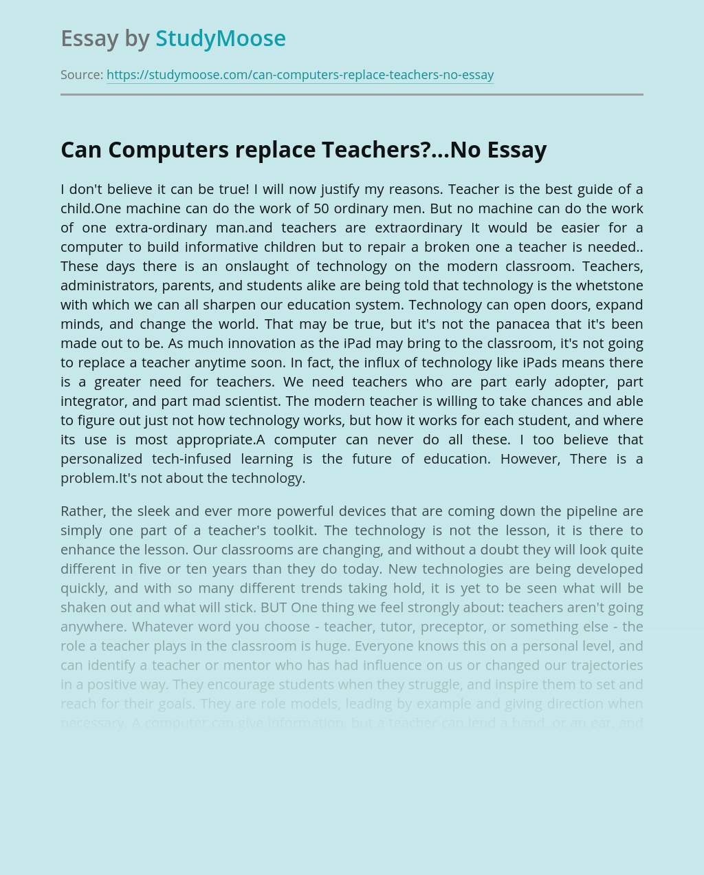 Can Computers replace Teachers?...No